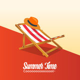 Summer holiday vacation concept, Sunbed and Calligraphy  flat illustration Stock Photo