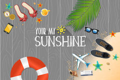 Summer holiday vacation concept, Sunshine flat  illustration. ! Stock Image