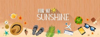 Summer holiday vacation concept, Sunshine horizontal layout Flat  illustration. ! Royalty Free Stock Photography