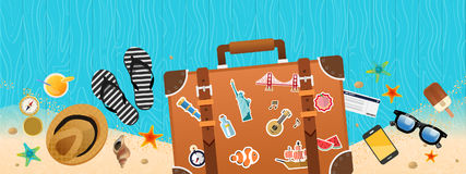 Summer holiday vacation concept, trunk and objects  illustration Royalty Free Stock Image
