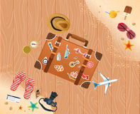 Summer holiday vacation concept, trunk and objects  illustration Royalty Free Stock Photography
