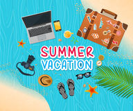 Summer holiday vacation concept, trunk and objects  illustration Stock Photos