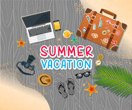 Summer holiday vacation concept, trunk and objects  illustration Stock Images