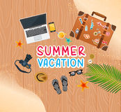 Summer holiday vacation concept, trunk and objects  illustration Stock Photography