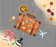 Summer holiday vacation concept, trunk and objects  illustration Stock Photo