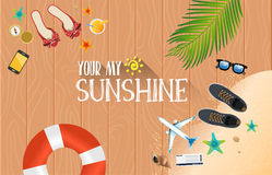 Summer holiday vacation concept, Wooden floor flat  illustration Royalty Free Stock Photos