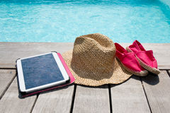 Summer holiday vacation essential objects on wooden deck. View from above Stock Photography