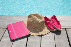 Summer holiday vacation essential objects on wooden deck. View from above Stock Photo