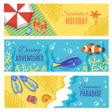 Summer holiday vacation horizontal banners set Stock Photos