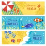 Summer holiday vacation horizontal banners set Stock Photos