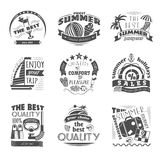 Summer holiday vacation labels set black Royalty Free Stock Photos