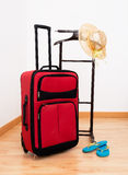 Summer holiday, vacation objects - suitcase, sunha Stock Images