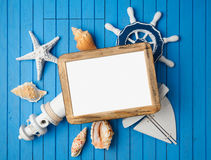 Summer holiday vacation photo frame mock up template with nautical decorations. View from above royalty free stock photos