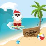 Summer holiday vacation with santa claus. Vector illustration Royalty Free Stock Photos