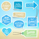 Summer holiday vacation stickers and labels Stock Images
