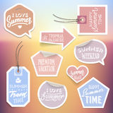 Summer holiday vacation stickers and labels Royalty Free Stock Photos