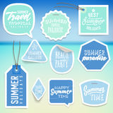 Summer holiday vacation stickers and labels Stock Photo