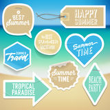 Summer holiday vacation stickers and labels Royalty Free Stock Photo