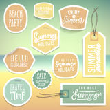Summer holiday vacation stickers and labels Stock Image