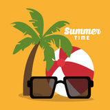 Summer holiday and vacations design. Glasses ball and palm tree icon. Summer holiday and vacations theme. Colorful design. Vector illustration Royalty Free Stock Photo