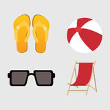 Summer holiday and vacations design. Glasses sandals ball and chair icon. Summer holiday and vacations theme. Colorful design. Vector illustration Royalty Free Stock Photo