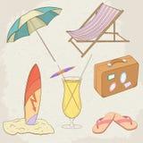 Summer Holiday Vector Hand Drawn Icons Stock Photos