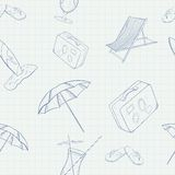 Summer Holiday Vector Hand Drawn Seamless Pattern Royalty Free Stock Photo