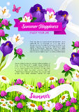 Summer holiday vector poster of blooming flowers Royalty Free Stock Photography