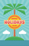Summer Holiday - Vintage Retro Vector Poster in flat design style Royalty Free Stock Images