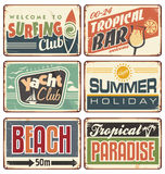 Summer holiday vintage sign boards collection Stock Images