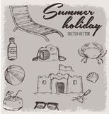 Summer holiday with vintage sketch vector. Print vector or background illustration Stock Photos