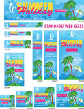 Summer Holiday Web Banners Set Royalty Free Stock Photo