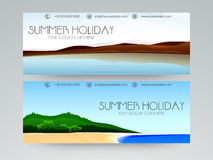 Summer holiday web header concept. Summer holiday website header or banner set Royalty Free Stock Photography