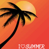 Summer holiday whit palm trees. Royalty Free Stock Photos