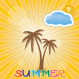 Summer holiday whit palm trees. Stock Photo