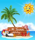Summer holiday with wooden sign and happy penguin Royalty Free Stock Photos