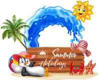 Summer holiday with wooden sign and happy penguin Stock Image
