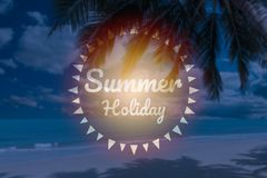 Summer holiday words on blur beautiful tropical beach. With coconut palm stock photo
