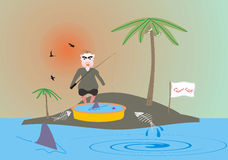 Summer Holidays. Summer vacation on a desert island. Fisherman in action. Drawing, picture Royalty Free Stock Photography