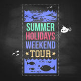 Summer holidays advertisement on a chalkboard background. Typogr Stock Photo