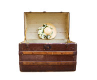Summer Holidays - antique travel trunk on white Stock Image