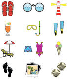 Summer and  holidays attributes Stock Photography