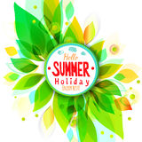 Summer holidays background with circle sticker Royalty Free Stock Photo