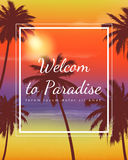Summer holidays background. Exotic landscape with palm trees. Vector Stock Photo