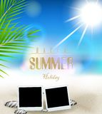 Summer holidays background with frame film. Illustration of Summer holidays background with frame film Royalty Free Stock Image