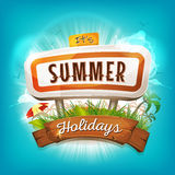 Summer Holidays Background. Illustration of a flashy design summer time poster, with road panel, tropical plants, sunshades, palm trees silhouette and wood Stock Photo