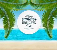 Summer holidays background with palm leaves. Royalty Free Stock Photography