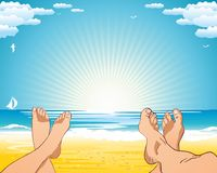 Summer holidays background, rest on paradise beach. Summer beach holiday by the ocean. View of the sea, the sky, the sun from the first person Royalty Free Stock Photos