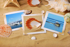 Summer holidays background with seaside photos on the beach Royalty Free Stock Image