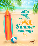 Summer holidays background - surfboard on against beach and waves. Vector illustration Royalty Free Stock Photo
